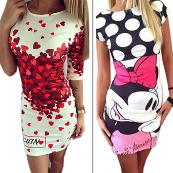 Vestidos 2016 Love Heart Print Slim Pencil Dresses Party Plus Size Women Clothing Cute Casual Bandage Bodycon Summer Dress Robe