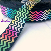 5 yards 7/8 tye dye grosgrain ribbon - metallic ribbon - zig zag ribbon - Wholesale ribbon - hair bow supplies - DIY supplies