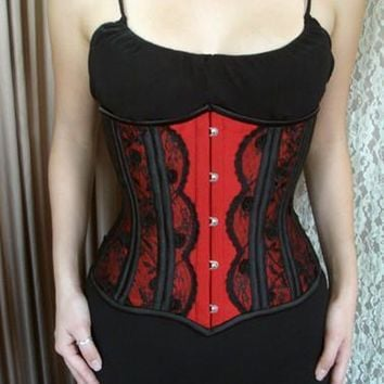 Red Satin Victorian Underbust Authentic Steel Boned Corset NS-GB123