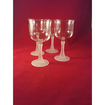 Cristal D'Arques Durand Frosted Stem Glasses  S/5