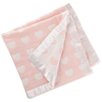 Hallmark Pink and White Hearts Jacquard Reversible Baby Blanket