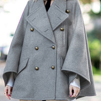 Gray Lapel Double Breasted Pocket Detail Cape Coat