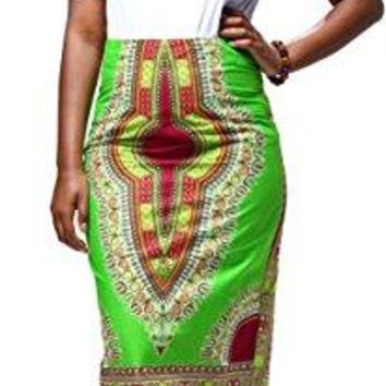 Women's African Traditional Print High Waist Mid-Calf Pencil Skirt