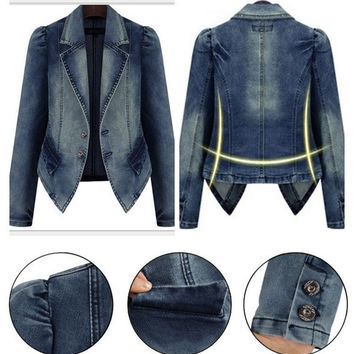Spring autumn plus size women clothing denim jacket long sleeve jacket coat = 1929660100
