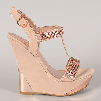 Bamboo Julianne-04 Chainmail Embellished T-Strap Platform Wedge