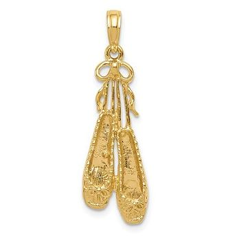 14K Yellow Gold Bright Bella Ballet Slippers Necklace Charm
