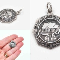 Vintage Future Homemakers of America Charm, Sterling Silver, Pendant, Signed, Kid's Club, FHA, Organizational Jewelry, Nice! #c595