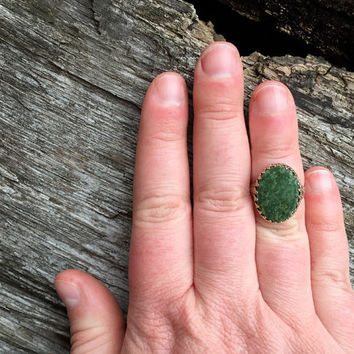 Signed Vintage Juan Pino Moss Green Oval Agate Ring / Size 6 / Sterling Silver Southwestern Jewelry / Navajo American Indian / Boho Bohemian