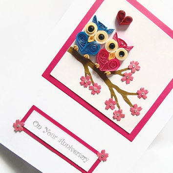 Quilled owls Anniversary card, Anniversary card, quilled card, quilling card, love card, handmade card, greeting card, owls card