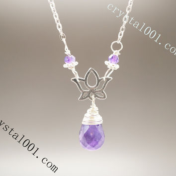 Tiny Silver February Birthstone Lotus Flower Genuine Amethyst Necklace