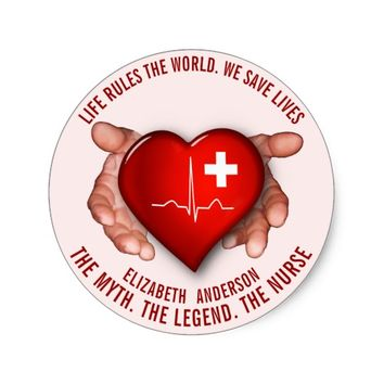 Registered Nurse With Red Heart In Hands Classic Round Sticker
