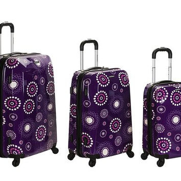 F150-PURPLEPEARL 3Pc Vision Polycarbonate/Abs Luggage Set