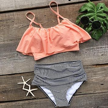 Pretty Bikini Set CUPSHE Seaside Gale Falbala High-waisted  Women Summer Sexy Swimsuit Ladies Beach Bathing Suit swimwear KO_24_2