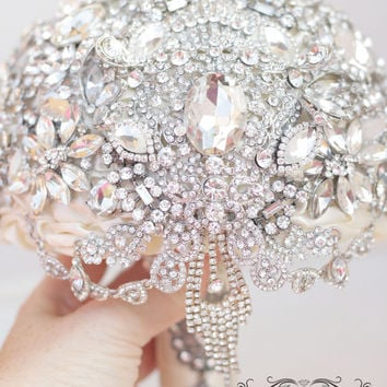 Jeweled Crystal  Brooch Bouquet .Diamond Jeweled Crystal Bling Broach Bouquet. Ready to ship.