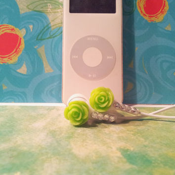 Super Cute Neon  Green Rose Earbuds With Swarovski Crystals.