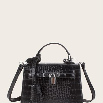 Metal Lock Decor Croc Embossed Satchel Bag
