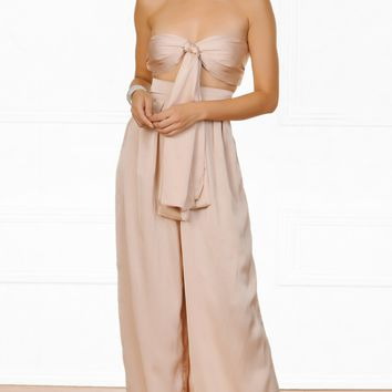 Indie XO In The Lead Nude Strapless Tie Front High Waist Palazzo Pant Two Piece Set - 3 Colors Available  (New Color Added!)
