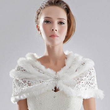 2017 Wedding Formal Dress Diamond Lace Fur Shawl Outerwear Bride