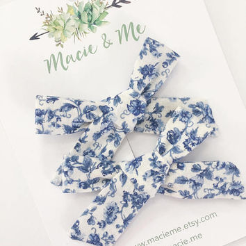 Vintage Blue Floral Pigtail Bows / Girls Hair Bows / Alligator Clip / No Slip Grip / Macie and Me / Pigtail Bows / Hand Tied