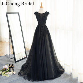 Real image black applique  lace bridemaid dress long scoop  ball gown for wedding party dress robe demoiselle d'honneur