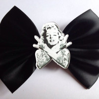Marilyn Monroe Tattooed Black Hairbow Hair Bow Tattoo Pinup Pin Up Rockabilly Goth Gothic Hipster Emo Black Retro Kitsch Rock