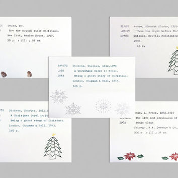 Set of book theme holiday cards, literary Christmas cards, unique holiday card, library card catalog card, bookworm Christmas card