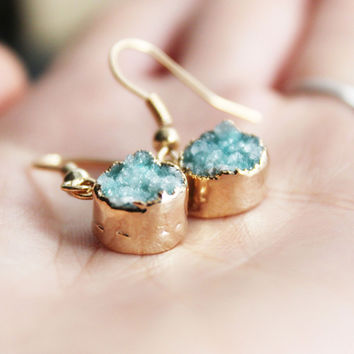 I liked this design on #Fab. Druzy Drop Earrings Mint