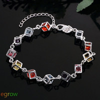 Beautiful Crystal Diamonds Silver Plated Charm Chain Bracelet (Color: Silver) = 1841503300
