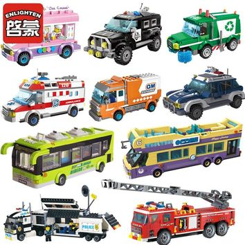 City Wrecker Police Sanitation Ice Cream Car Truck Building Blocks Sets Bricks Kids Toys Marvel Compatible Legoes City Friends