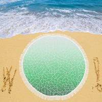 """Ombre green and white swirls doodles Circular Beach Shawl 59""""x 59"""" 