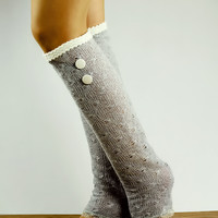 by (Oleel) SALE: Fashion, Legs Sock,Warm,Boot Leg Warmers,80s,Boots Leg Warmers,Knotted,High Knee Stockings,Long Cuffs,Under Boots,Cute,Funky,Knee,Sox