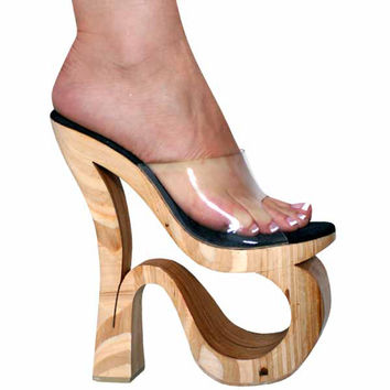 "Clear Open Toe 8"" Natural Wood"