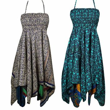 Lot Of 2 Angel Womens Halter Dress Handkerchief Hem Two Layer Beach Dresses S/M: Amazon.ca: Clothing & Accessories