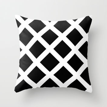 Rhombus Black & White Throw Pillow by MJ Mor
