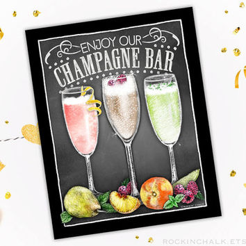 Fully Customizable Cocktail Bar Sign | Customized by Request - Champagne Bar, Mimosa Bar, Sangria Bar, and more MADE TO ORDER