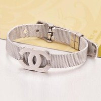 Chanel Trending Ladies Men Stylish Simple Logo Titanium Steel Bracelet Jewelry+Best Gift Silvery