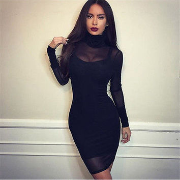 New Women Lace Long Sleeve Party Cocktail Bodycon Sexy Mini Dress Women Dress