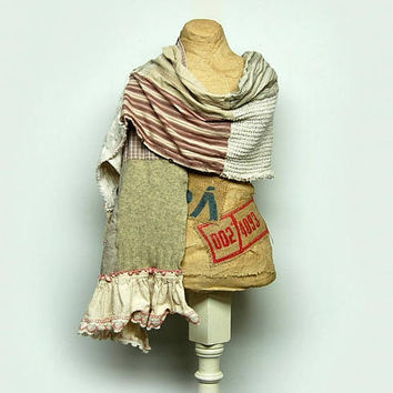 Scrappy Scarf Shabby Chic Mori Girl Tattered Linen Scarf Patchwork Scarf Upcycled Scarf Anthropologie Style Neck Wrap by Primitive Fringe