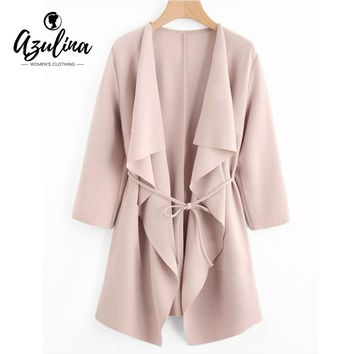 AZULINA Trench Coat Women Draped Front Pockets Casual Coat Slim Long Sleeve Collarless Belted Long Trench Coats Women Clothing