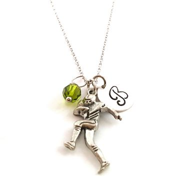 Football Player Charm Necklace - Personalized Sterling Silver Jewelry