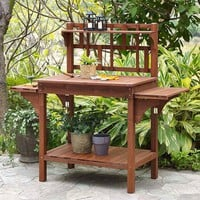Solid Wood Potting Bench with Flip-up Sides & Garden Tool Shelf in Cinnamon