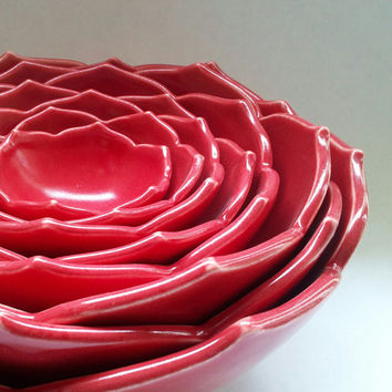 Eight Nesting Lotus Ceramic Bowls in Red by whitneysmith on Etsy