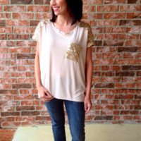 Sequin Blouse in Blush