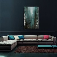"""Painting, Teal abstract painting Canvas Art, Landscape Tree Art, Living room Home Decor Size: 24"""" x 36"""" (60.96 cmx 91.44cm) Fast shipping"""