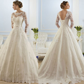 Corset lace up 2016 White Wedding Dresses lace long sleeves