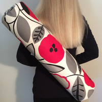 Handmade Yoga Bag, Pilates Mat Bag, Yoga Tote, Yoga Mat Carrier - Black, Red, Grey - Modern Flower Print