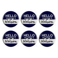 Nelson Hello My Name Is Plastic Resin Button Set of 6