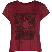 Full Tilt Sun And Moon Girls Tulip Back Tee Burgundy  In Sizes