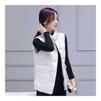 Winter Waistcoat Vest Thick Down Coat Woman Short   white