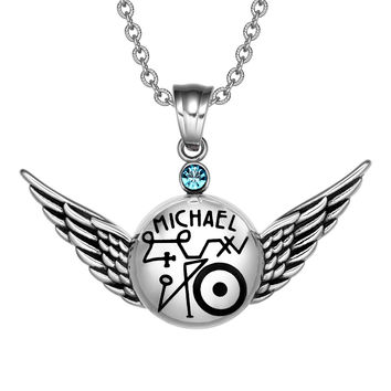 Magic Planetary Powers Archangel Michael Angel Wings Sky Blue Crystal Amulet Pendant 22 inch Necklace